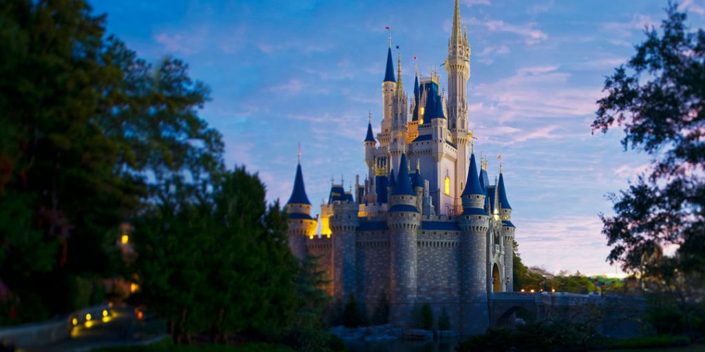 disney vacation club resales, disney kingdom castle skyline in magic forest with dim lighting